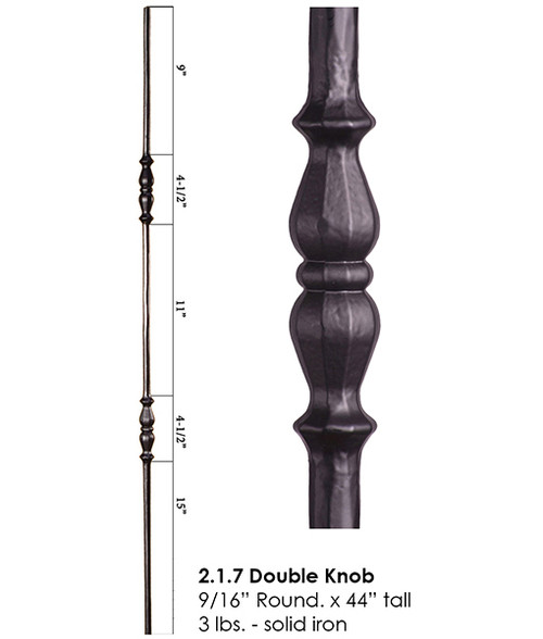HF2.1.7 Double Knob Tuscan Baluster Round Iron Baluster