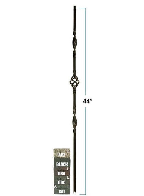 2962 Single Basket Double Ribbon Solid Wrought Iron Satin Black Baluster, 12mm