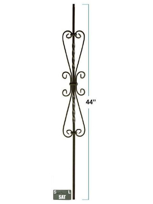 2583-LT Double Scroll Hollow Tubular Steel Baluster, 5-inch wide, 12mm
