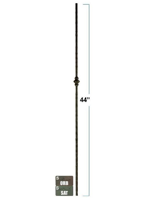 2772 Single Victorian Round Forged Wrought Iron Baluster, 1/2-inch, 12mm