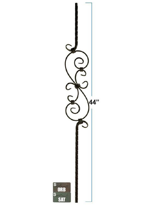 2797 Mediterranean Three Piece Scroll Forged Iron Baluster