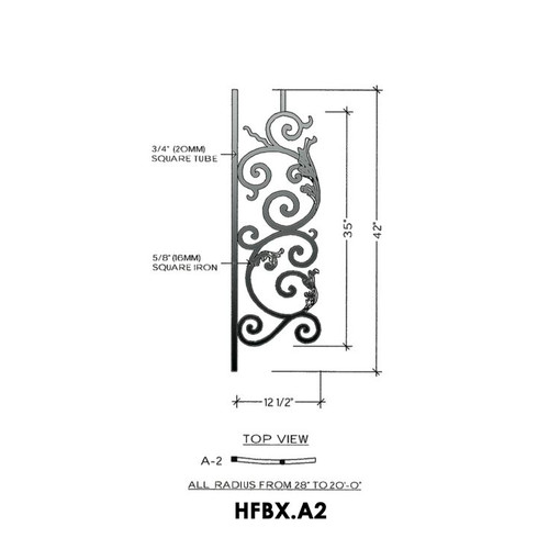 HFBX.A2 Bordeaux Radius Balcony Iron Panel
