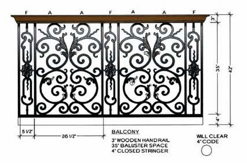 Bordeaux Decorative Panels, Dimensional Information for Balcony