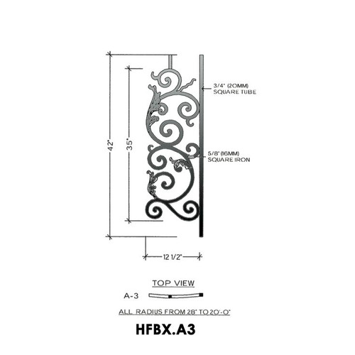 HFBX.A3 Bordeaux Radius Balcony Iron Panel
