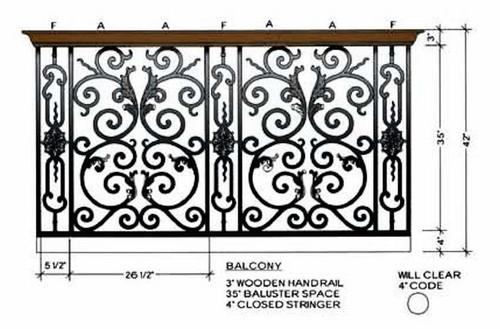 Bordeaux Decorative Panels, Dimensional Information Balcony