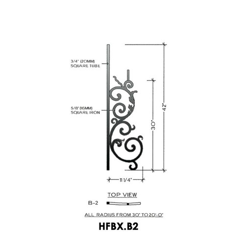 HFBX.B2 Bordeaux Radius Rake Iron Panel
