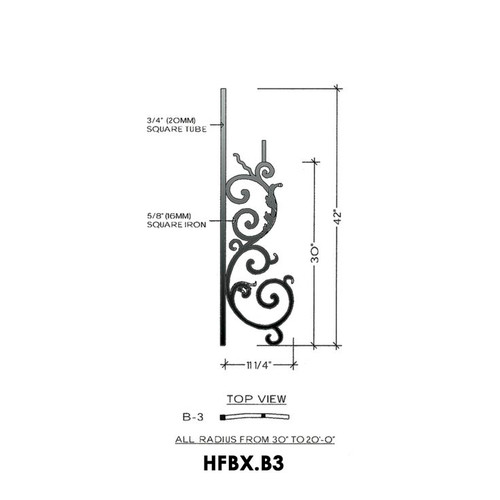 HFBX.B3 Bordeaux Radius Rake Iron Panel