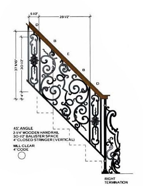 HFBX.E1 Bordeaux Rake Iron Panel in 45-degre angled staircase