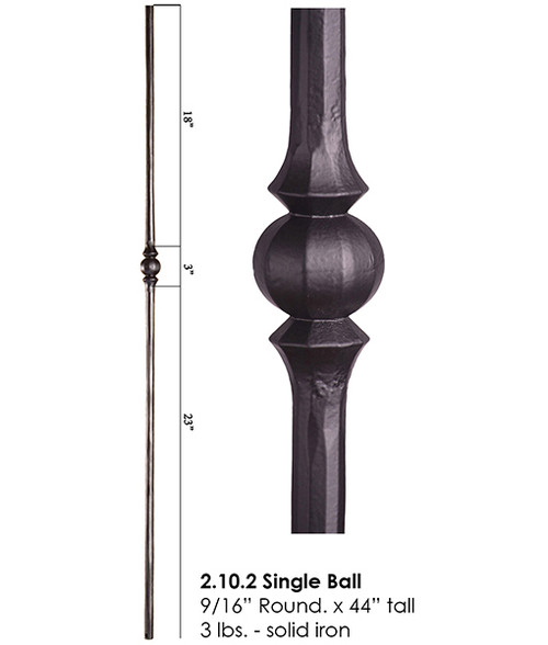 HF2.10.2 Tuscan Single Knuckle Round Iron Baluster