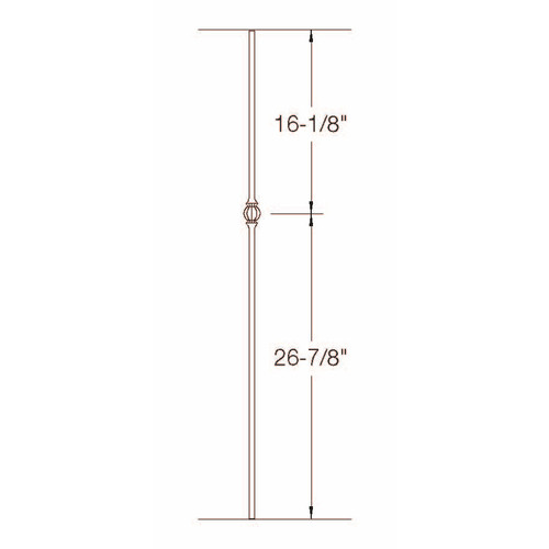 TR22 12mm Round Tubular Steel Single Ball Tubular Steel Baluster Dimensional Information