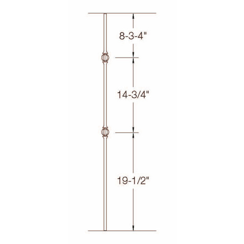TR23 12mm Round Tubular Steel Double Ball Tubular Steel Baluster Dimensional Information