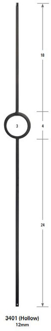 3401 One Ring Tubular Steel Forma Baluster