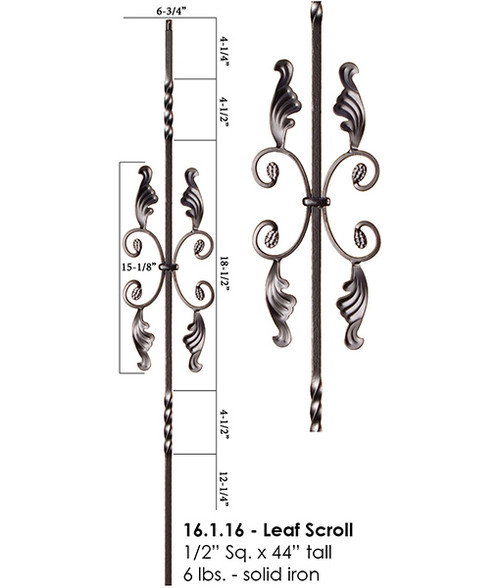 16.1.16 Two Twist with Leaves Iron Baluster