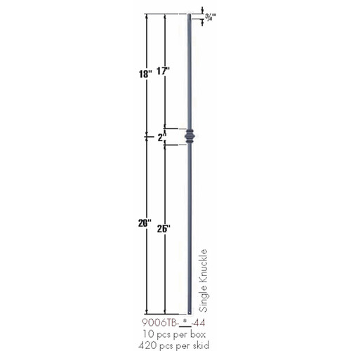9006TB Single Knuckle Tubular Steel Baluster Dimensional Information
