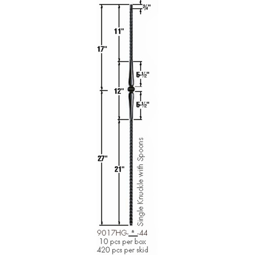 9017HG Gothic Single Knuckle Hammered Baluster Dimensional Information