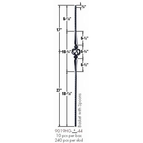 9019HG Gothic Single Basket Hammered Baluster Dimensional Information