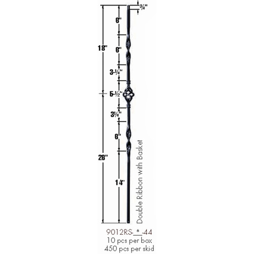 9012RS Double Ribbon Single Basket Tubular Steel Baluster Dimensional Information