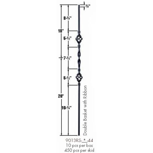 9013RS Double Basket Single Ribbon Tubular Steel Baluster Dimensional Information