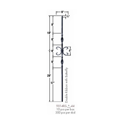 9014RS Double Ribbon and Butterfly Tubular Steel Baluster Dimensional Information