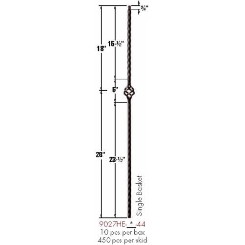 9027HE Single Basket Edge Hammered Baluster Dimensional Information