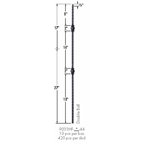 9033HF Double Ball with Hammered Face Baluster Dimensional Information