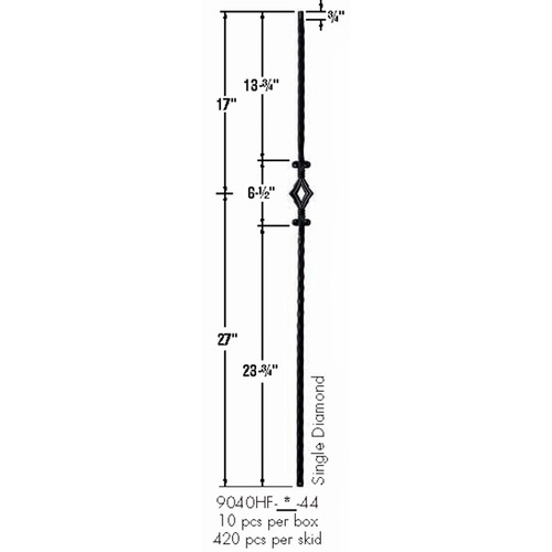 9040HF Single Diamond with Hammered Face Baluster Dimensional Information