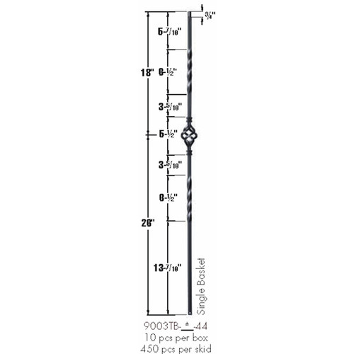 9003TB Satin Black Single Basket Tubular Steel Baluster Dimensional Information