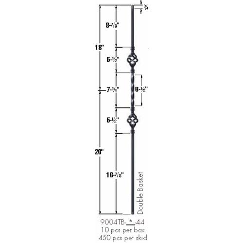 9004TB Satin Black Double Basket Tubular Steel Baluster Dimensional Information