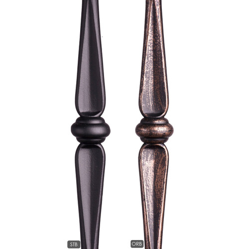 Tubular Round Gothic Double Knuckle available in a satin black and oil rubbed bronze powder coat.  Also Ash Gray (not shown).