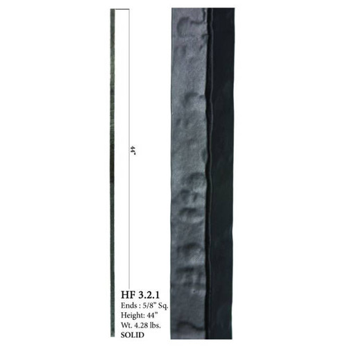 """HF16.2.1 5/8"""" Square Plaid SOLID Wentworth Baluster"""