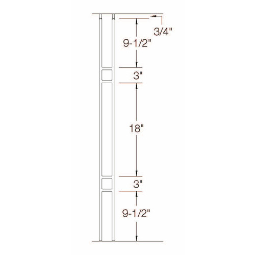 T-19 Double Panel Craftsman Baluster Dimensional Information