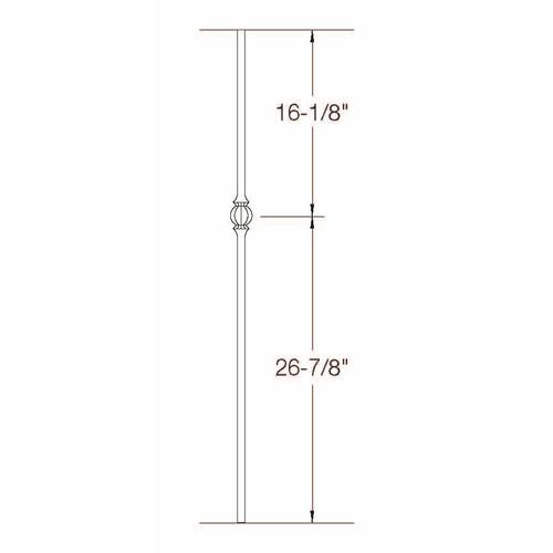 2GR22 16mm Round Single Ball Tubular Steel Baluster Dimensional Information