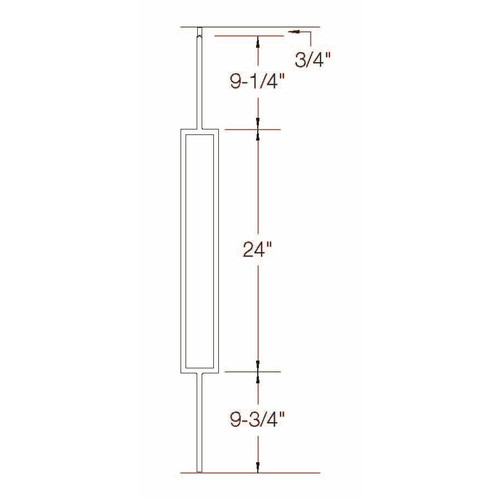 T-81 Single Rectangle Tubular Steel Baluster Dimensional Information