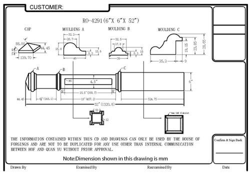 HF-4291 Recessed Panel Box Newel CADD Image