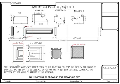 HF-4791 Raised Panel Box Newel CADD Image