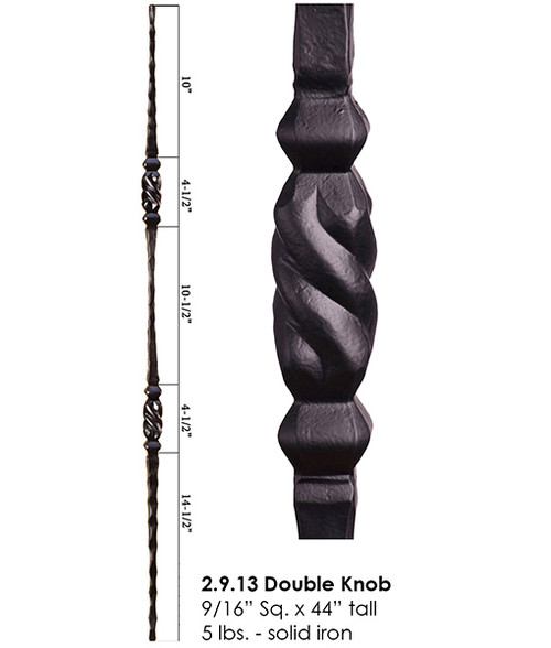 HF2.9.13 Hammered Double Knob Iron Baluster Solid Iron