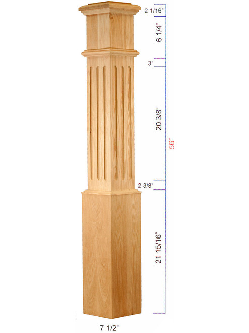 C-4095-F Large Fluted Traditional Box Newel Dimensional Information