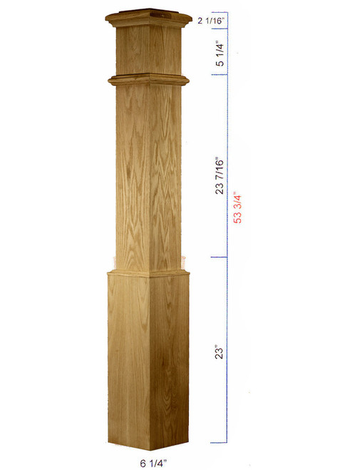 C-4090 Plain Traditional Box Newel Dimensional information