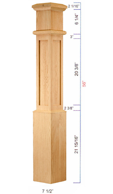 C-4890 Mission Style Large Box Newel Dimensional Information
