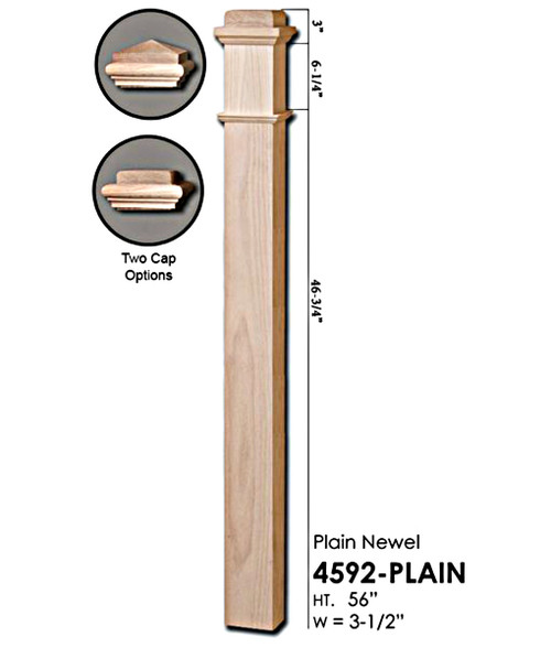 4592-Plain Red Oak Box Newel Post