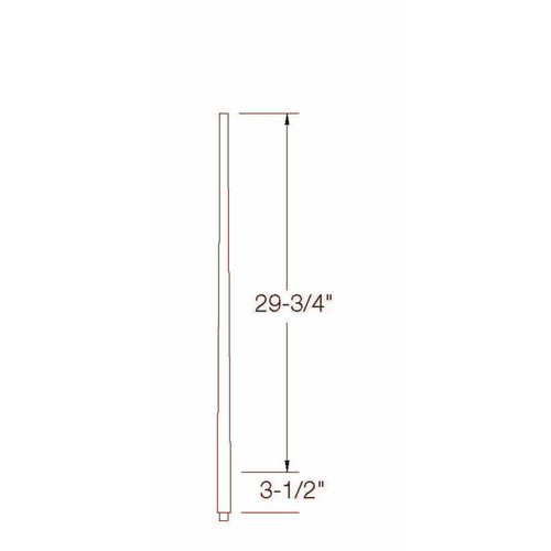 """A-5040 1-1/4"""" x 34"""" Colonial Long Tapered Baluster Dimensional Information"""