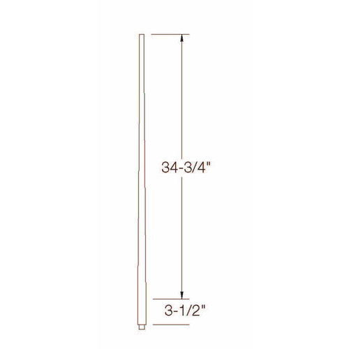 "A-5040 1-1/4"" x 39"" Colonial Long Tapered Baluster Dimensional Information"
