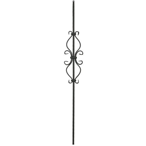 T-35 Hour Glass Scroll Baluster, Satin Black
