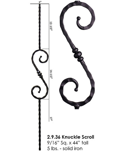HF2.9.36 Tuscan S-Scroll with Knuckle Iron Baluster