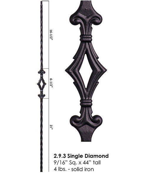 HF2.9.3 Tuscan Single Diamond Iron Baluster