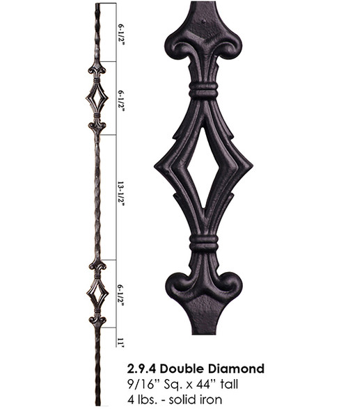 HF2.9.4 Tuscan Double Diamond Iron Baluster