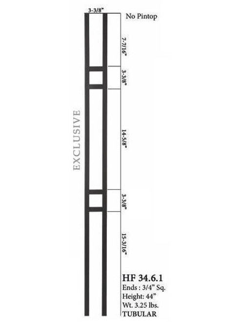 HF34.6.1 MEGA Double Square Aalto Steel Baluster 2