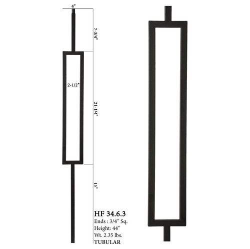HF34.6.3 MEGA Single Rectangle Aalto Steel Baluster