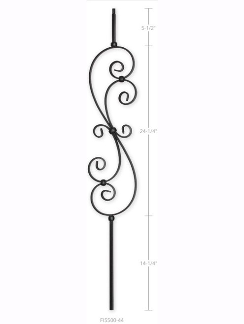 "FI5500-44 7"" Feathered S-Scroll Iron Baluster"