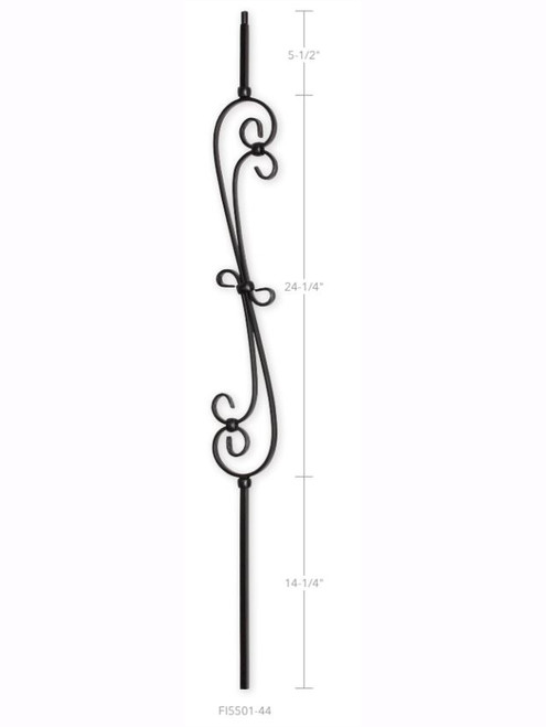 "FI5501-44 4-1/4"" Code Feathered S-Scroll Iron Baluster"